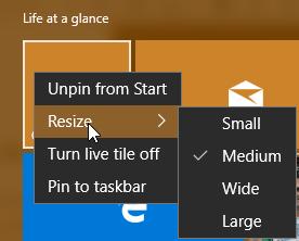 Resize Live Tiles