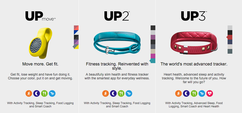 Jawbone Up trackers