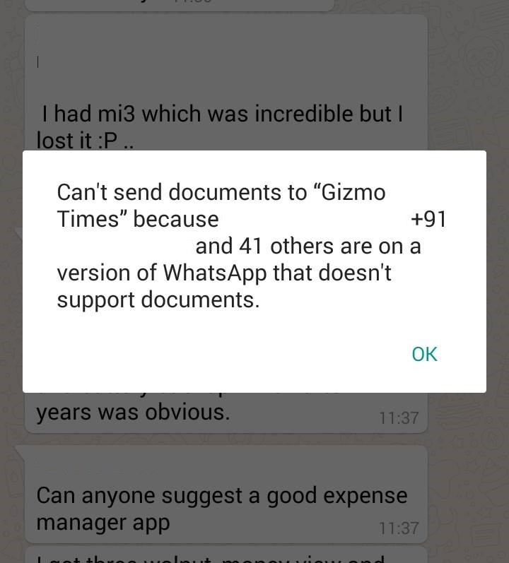Not able to send documents in Whatsapp