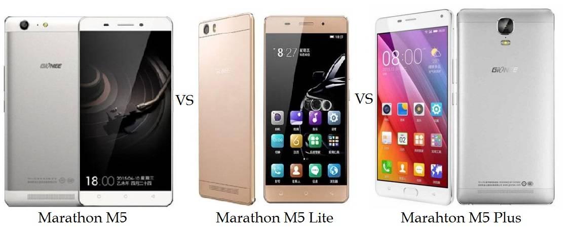 Gionee Marathon M5 vs Marathon M5 Lite vs M5 Plus Comparison