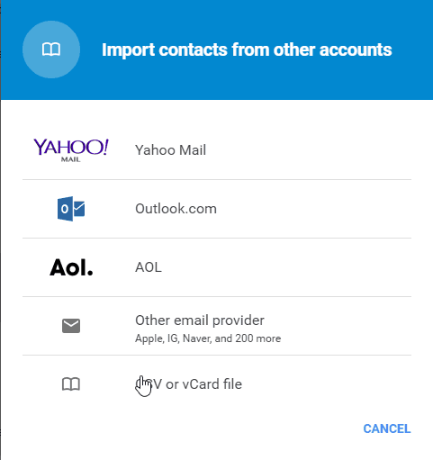 Import Type Gmail