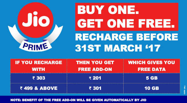 Jio buy one get one offer