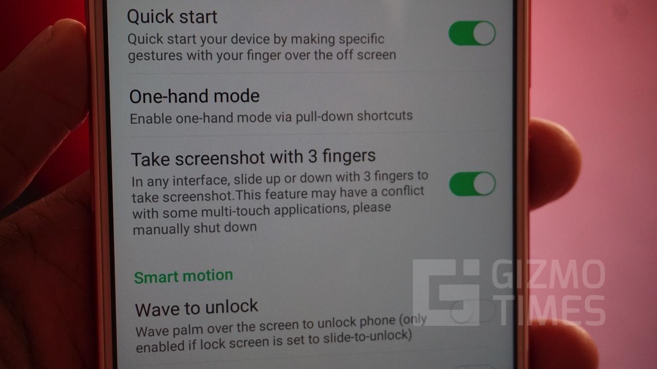 Infinix Zero 5 Screenshot Gesture