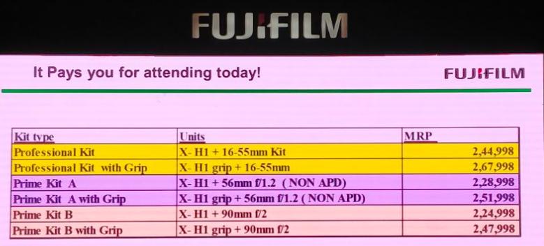 Fujifilm X-H1 India Prices