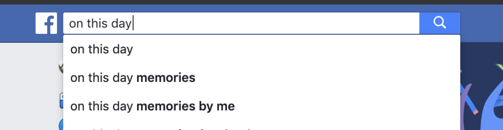 Facebook search on this day
