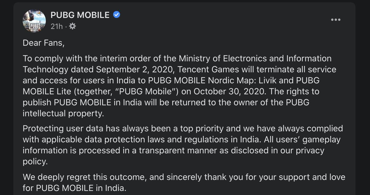 pubg mobile india ban closure